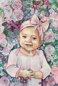 baby watercolor portrait, Heather Torres Art