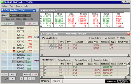 Screenshot of CQG Trader