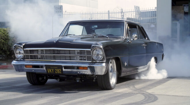 1967 Nova with mostly stock LS3 engine doing burnout at FiTech