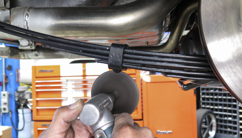 removing rivet on leaf spring clamp with cut off wheel
