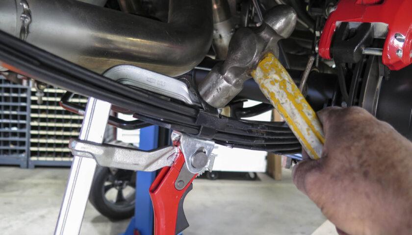 installing new leaf spring bend clip
