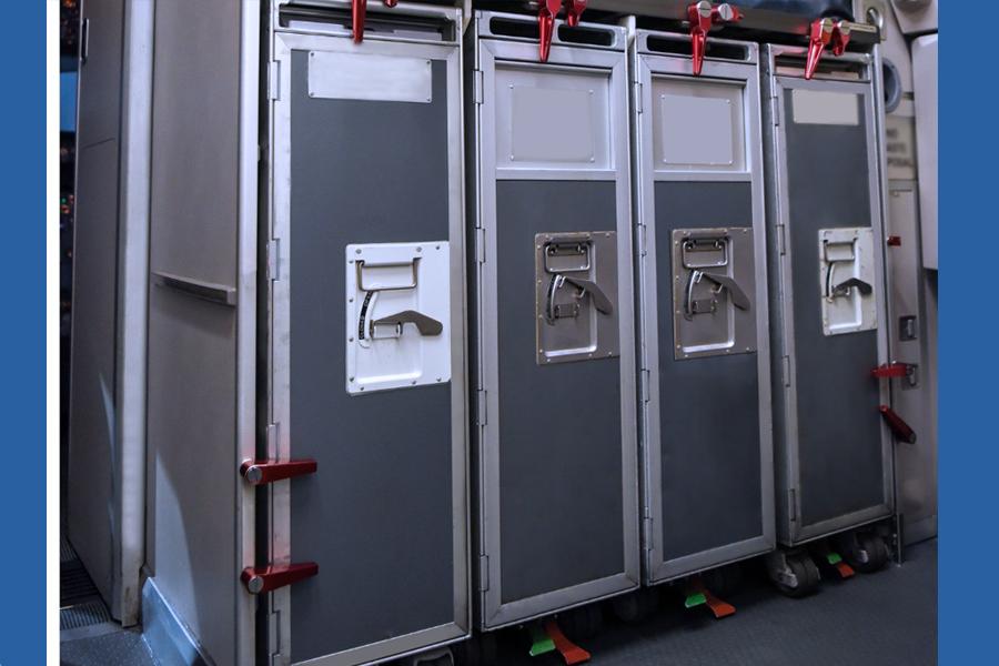 Trolleys secured in Galley