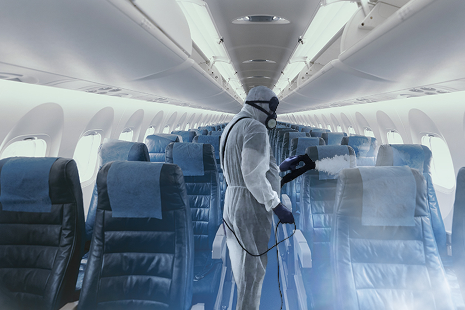 Airworthy sanitizing kit used in aircraft cabin, one of our innovation ideas for business continuity