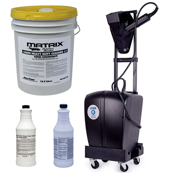 Image of electrostatic fogger and cleaning solution bottles