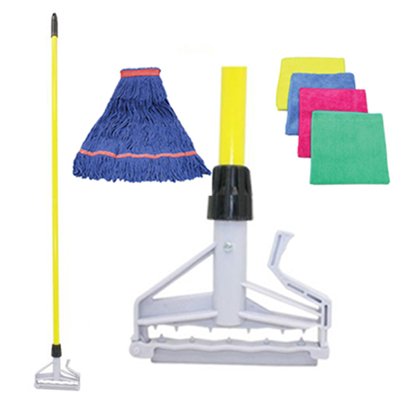 Image of cleaning supplies, including mop, mop handle and microfiber cloth