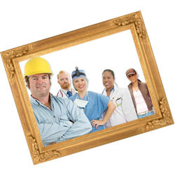 Working people in a picture frame