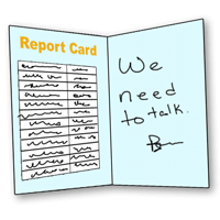"Report Card with teacher's note ""We need to talk"""
