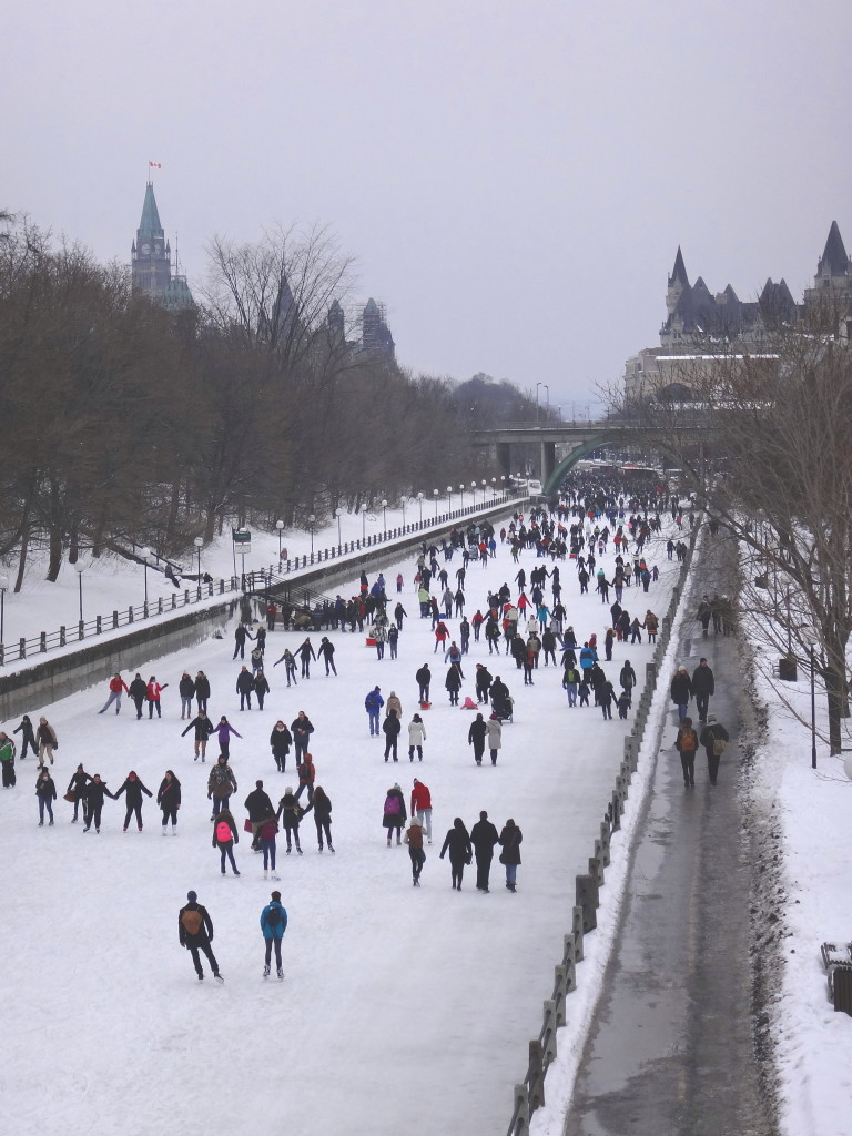 A crowd of skaters on the Rideau Canal, photographed from the Corkstown Bridge