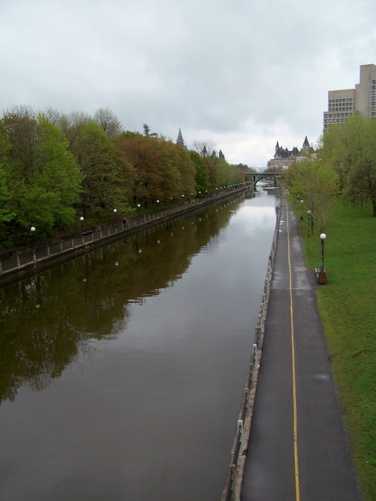 A view of the Rideau Canal from the Corkstown Bridge, looking north to the Chateau Laurier and Parliament