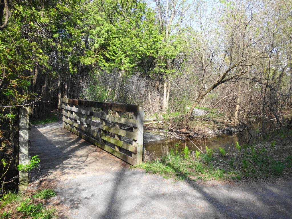 A woodend footbridge crosses Poole Creek.