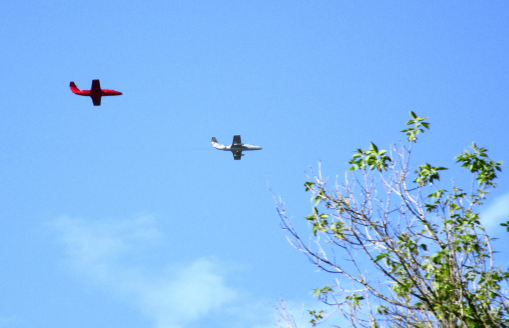 Two L29 Delfins fly in formation over the Rideau River.