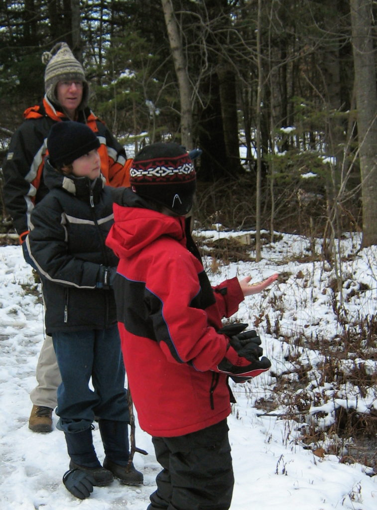 Two boys hold out seeds for chickadees in the Marlborough Forest.