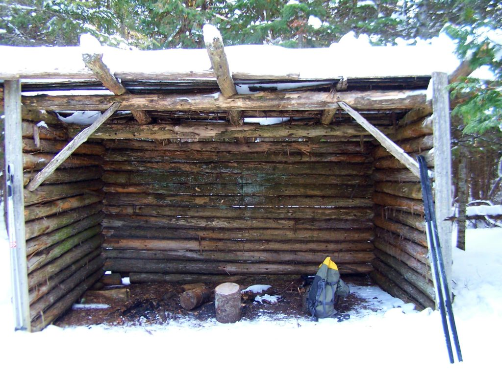 An rough shelter provides a resting place along the Cedar Grove Trail.