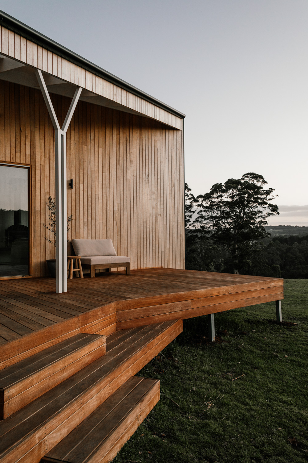 Exterior photo of Upland Farm timber stairs by Field Notes