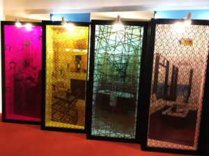 colored laminated glass with Titanium Decor Glass