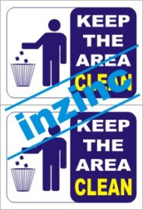 Keep area clean signage