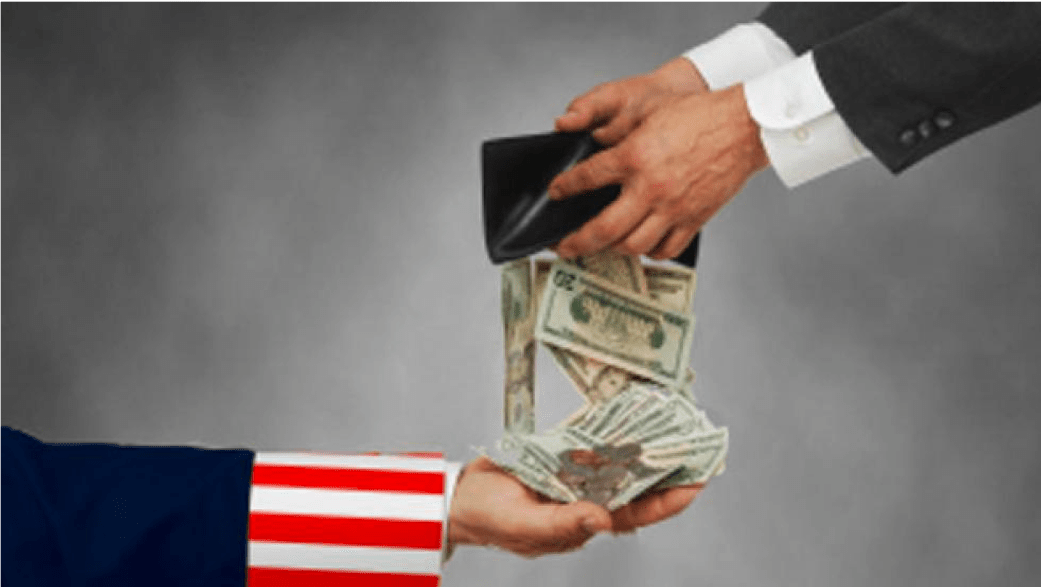 wallet of cash into the hands of Uncle Sam