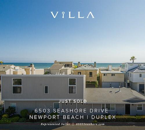 SOLD | duplex | 6503 Seashore, Newport Beach | $2.5mm