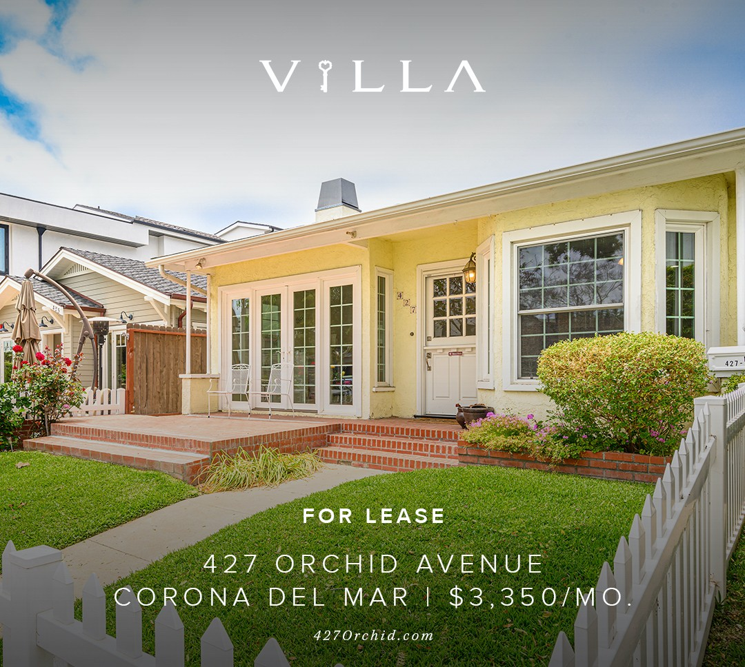 FOR LEASE | 427 ORCHID AVE | CORONA DEL MAR | $3,350/mo.