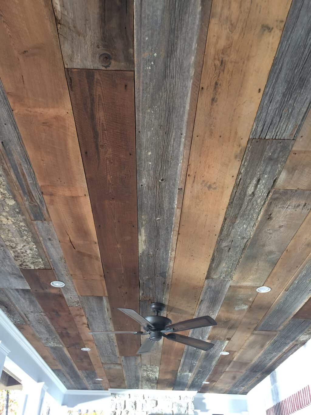 How We Installed Barn Wood on Our Porch Ceiling