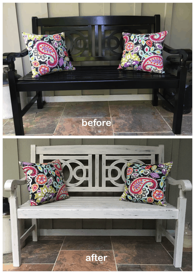Chalk Painting Our Front Porch Bench