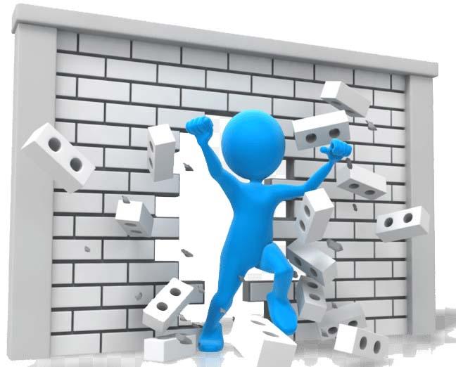 Character busting through a brick wall