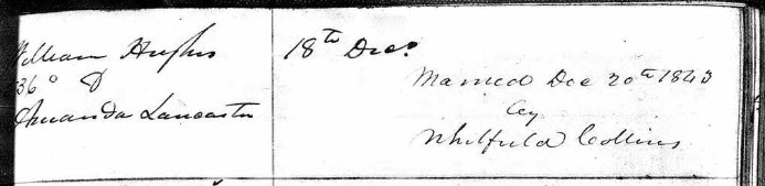 Image of the handwritten entry for the marriage of William Hughes and Amanda Lancaster.