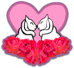 Pink heart with graphic image of two cats and flowers symbolizing Valentine's Day in Los Gatos