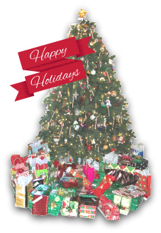 Christmas tree and packages with a greeting of Happy Holidays on a banner