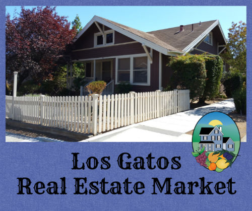 Los Gatos real estate market graphic with home near downtown