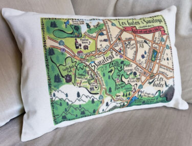 Gooseberry Designs pillow with stylized Los Gatos and Saratoga map