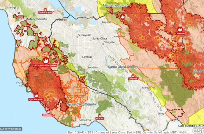 Combined fire map with evacuation areas shows