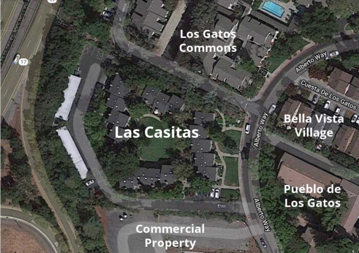 Map of Las Casitas in relation to other communities
