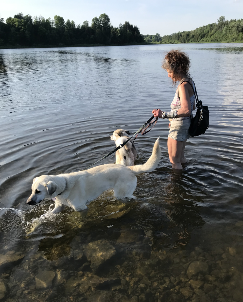 Lily's first time in the water