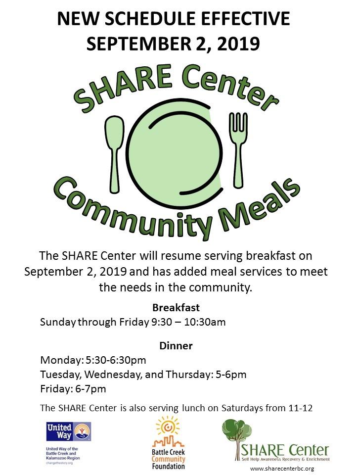 Community Meals New Schedule