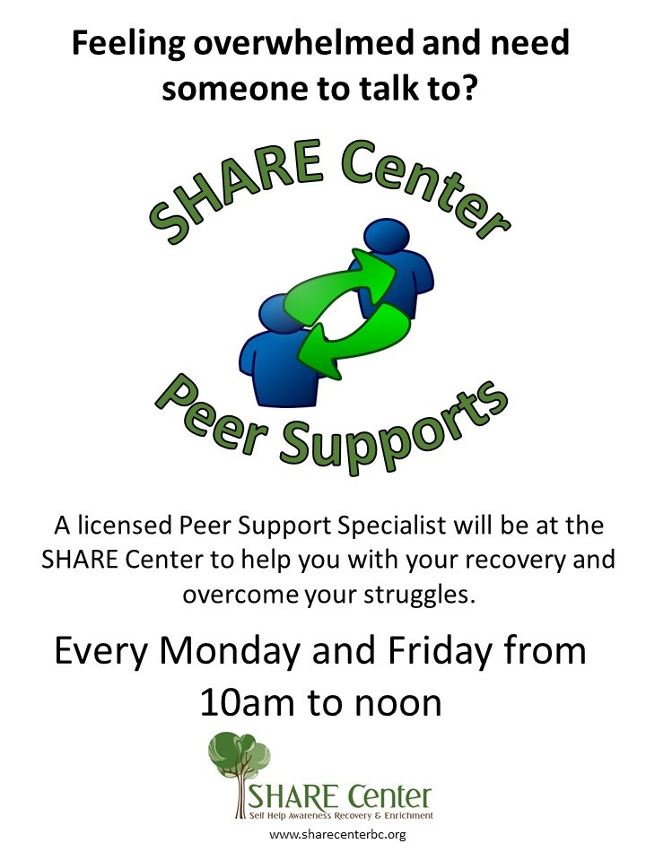 Certified Peers Supports are available to help with case management and referrals