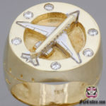 airplane jewelry ring with diamonds and gold