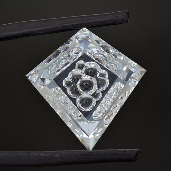 bubble faceted aquamarine gemstone