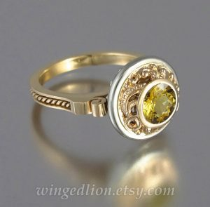 yellow beryl yellow gemstone ring in 14kt yellow and white gold