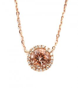 Morganite and diamond 18 kt rose gold necklace