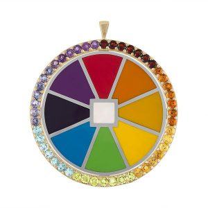 Colorful enamel and gemstone wheel by Deborah Halperin of May Came Home