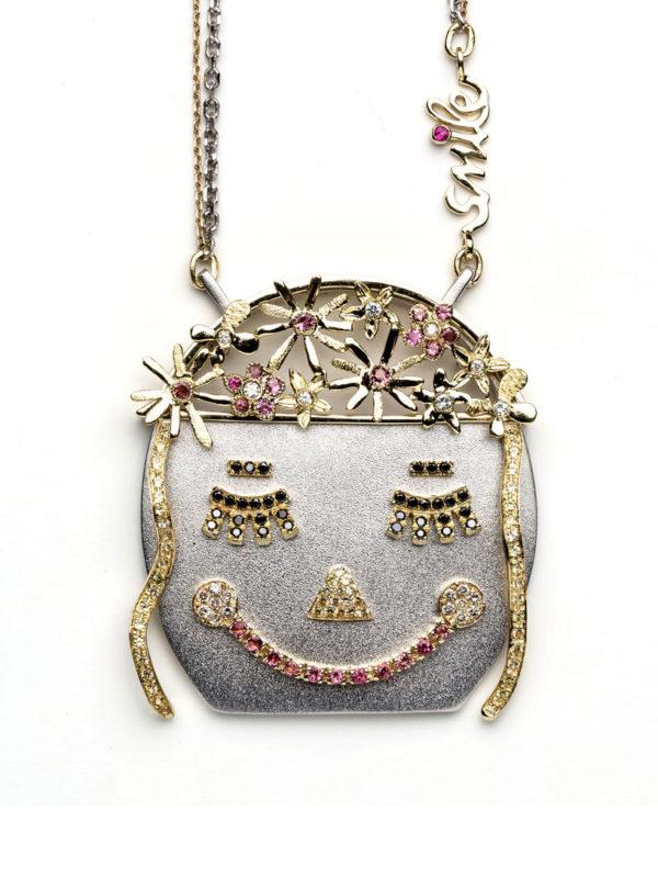 diamond and pink tourmaline smile necklace