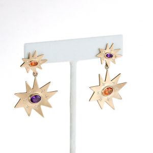 Gold Double Stella Earrings