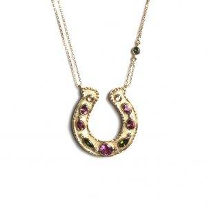 Horse Shoe Necklace With Colored Tourmaline and Diamonds
