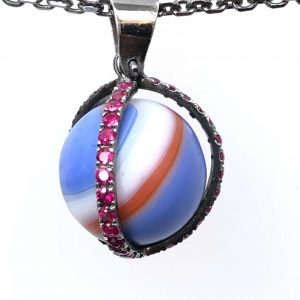 Multi color antique marble with rubies, $1400