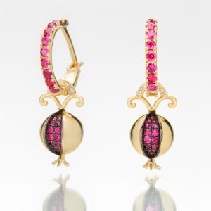 Pomegranate Earrings on Ruby Hoops