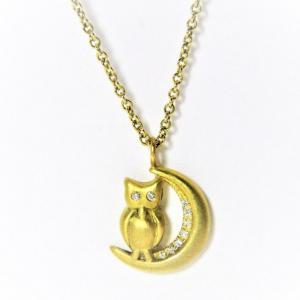 Diamond Owl and Moon Pendant