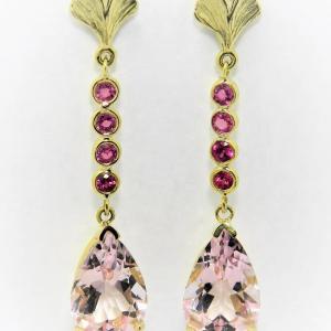 Morganite and Pink Sapphire Earrings