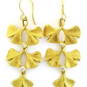 Three-Tiered Gingko Earrings