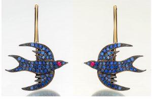 Sapphire Bird Earrings